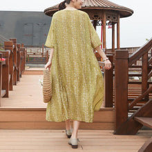 Load image into Gallery viewer, Loose Round Neck Half Sleeve Casual Yellow Dress