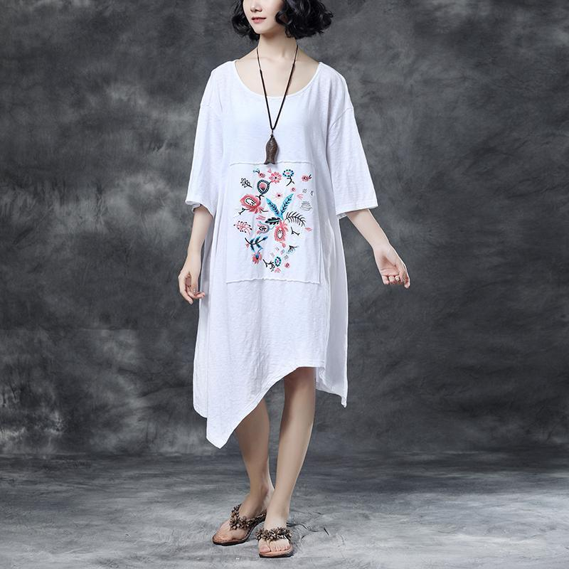 Loose Round Neck Embroidered Irregular Cotton Dress