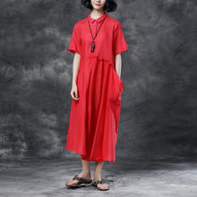 Load image into Gallery viewer, Summer Short Sleeve Polo Neck Red Casual Dress