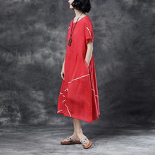 Laden Sie das Bild in den Galerie-Viewer, Summer Short Sleeve Pockets Red Casual Cotton Dress