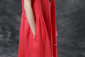 Summer Short Sleeve Pockets Red Casual Cotton Dress