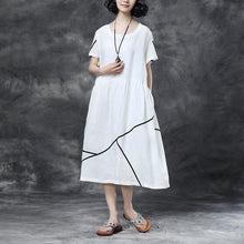 Load image into Gallery viewer, Summer Short Sleeve Pockets White Pockets Casual Cotton Dress