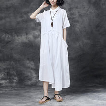 Load image into Gallery viewer, Summer Short Sleeve Polo Neck White Casual Dress
