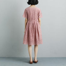 Laden Sie das Bild in den Galerie-Viewer, Summer Short Sleeve Lacing Pleated Pink Casual Dress