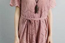 Load image into Gallery viewer, Summer Short Sleeve Lacing Pleated Pink Casual Dress
