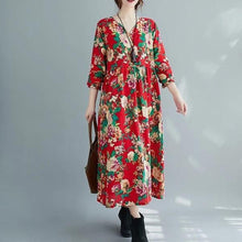 Load image into Gallery viewer, long sleeve plus size cotton linen vintage floral for women casual loose autumn dress