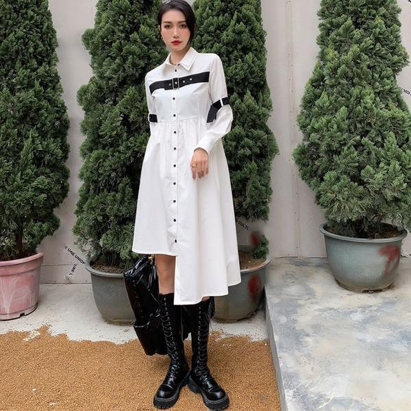 Patchwork Irregular Button Dress Women 2020 Winter Casual Fashion New Style Temperament All Match Women Clothes
