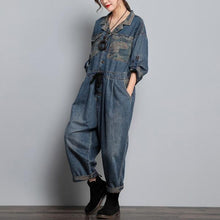 Load image into Gallery viewer, Ladies Vintage Denim Jumpsuits Female 2020 Spring Autumn Overalls