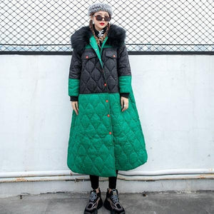 Winter Goddess Fan Patchwork Hit Color Casual Loose Parkas