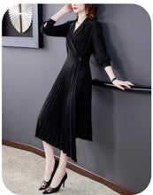 Load image into Gallery viewer, long sleeve plus size black for women casual loose spring autumn Wrap Pleated blazer dress