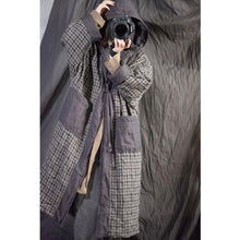Load image into Gallery viewer, Omychic Linen Plaid Hooded Parkas Long Coat Female Padded Outerwear