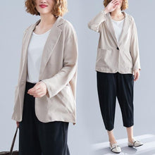 Load image into Gallery viewer, long sleeve cotton linen plus size ladies causal loose autumn spring blazer women jacket 2020 clothes coat
