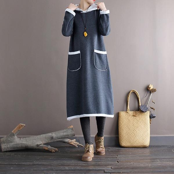 Autumn Winter Fleece Hooded Dress Ladies Vintage Patchwork Loose Dresses