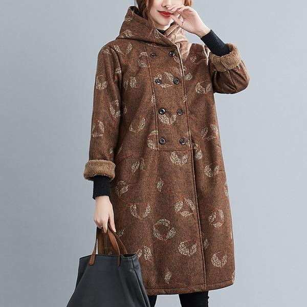 plus size wool vintage floral hooded casual loose long autumn winter coat for women jacket