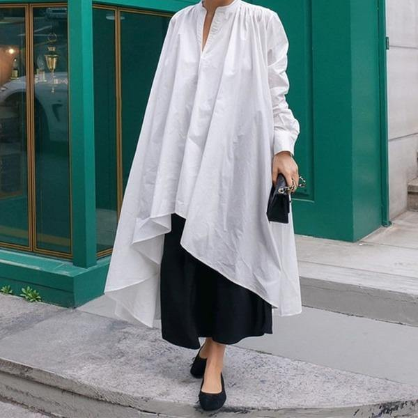 Irregular White Long Blouse Women Clothes V Neck Full Sleeve Match All Shirt Top