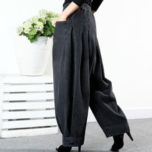 Load image into Gallery viewer, Loose Pants Women Casual Harem Pants Winter The New Fashion Solid Color Elastic Waist Pleated Aimplicity All-nmatch