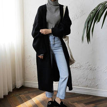 Load image into Gallery viewer, 2020 Fashion Harajuku Loose Knit Sweater Women Casual Black Oversized Jacket Coat Autumn