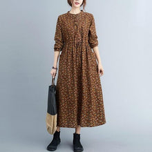 Load image into Gallery viewer, Women Cotton Linen Casual Long Dress  Vintage Floral Print Loose Ladies Elegant A-line Dresses