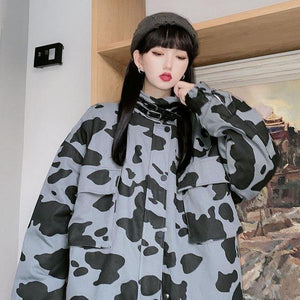 Contrast Color Print Women Jacket Casual Loose Stand Collar Keep Warm Trendy Jacket Coat