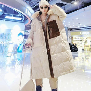 Patchwork Pockets Zipper Down Coat Women 2020 Winter Casual Fashion  Style Temperament All Match Women Clothes