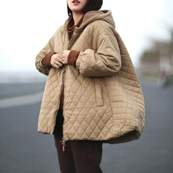 2020 Winter New Zipper Long Sleeve Warm Plus Size Women Cloths Solid Color Coat