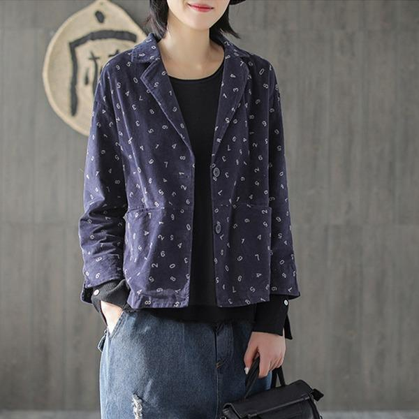 2020 New Vintage Turn-down Collar Corduroy Original Women Print Coats