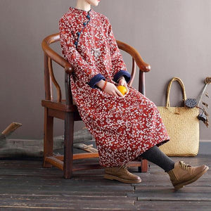 Omychic Loose Retro Fleeced Winter Robe Dress  Female 2020 Fleece Dresses