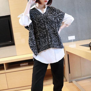 Patchwork Casual Side Split Sweater Women Tide Fashion New Style V Neck Collar Sleeveless Match All Elegant Top