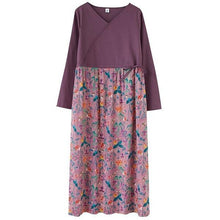 Load image into Gallery viewer, omychic cotton linen plus size vintage floral for women casual loose spring autumn dress