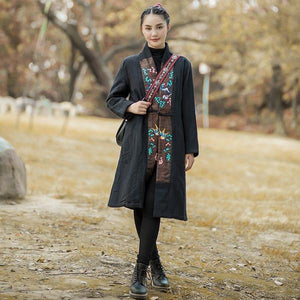 2020 Autumn Winter New Cotton Linen Women Patchwork Parkas Coats