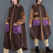 Load image into Gallery viewer, long sleeve plus size corduroy vintage for women casual loose autumn winter elegant shirt dress clothes