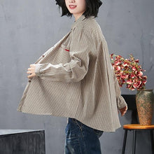 Load image into Gallery viewer, cotton linen autumn vintage stripe korean style plus size Casual loose shirt women blouse 2020 clothes ladies tops streetwear