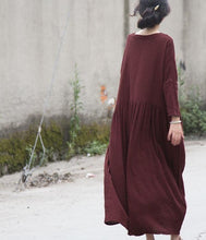 Load image into Gallery viewer, Vintage Solid Color V Neck Ripped Dress Ladies Loose Robe Dress