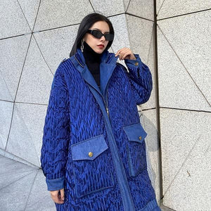 Women Winter The New Contrast Color Loose Pockets Street Trendy Stand Collar Parka Coat