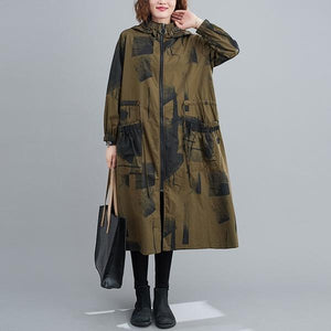plus size Oversized hooded casual loose long autumn spring  trench coat