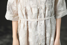 Laden Sie das Bild in den Galerie-Viewer, Loose Summer Lacing Beige Long Linen Women Dress