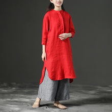 Load image into Gallery viewer, Red Leisure Loose Three-Quarter Casual Dresses For Women