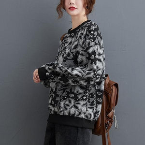 2020 Korean Simple Style O-neck Vintage Print Loose Female Pullovers Hoodies