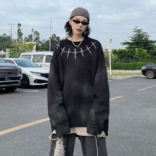 O-neck Collar Loose Long Sleeve Street Fashion Trendy
