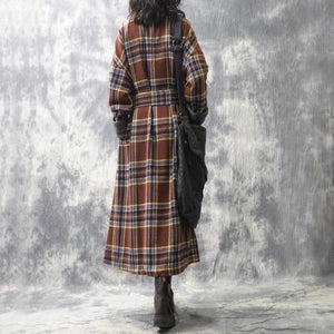 Omychic Winter Woolen Coat Plaid Patchwork Loose Long Coat Outerwear Ladies Fashion Plaid Coat Overcoat Female Topcoat 2019