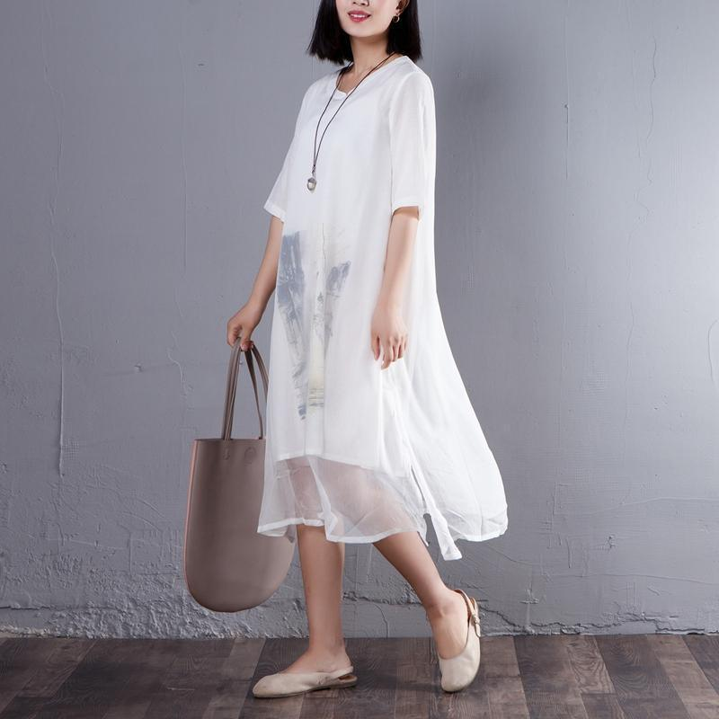 Casual False Two Piece Round Neck Short Sleeve Dress