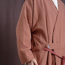 Load image into Gallery viewer, Vintage Trench Cotton Linen Coat Women 2020 Spring New Long Sleeve V-Neck Coat