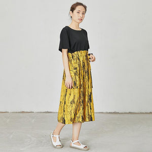 Abstract Printed Spliced Lacing Casual Dress