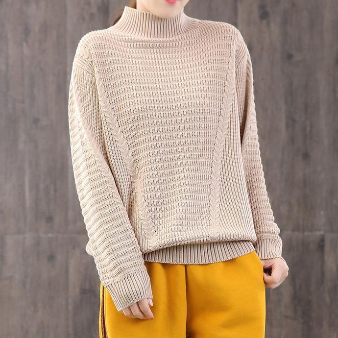 Aesthetic beige knitted clothes plus size clothing high neck sweaters long sleeve