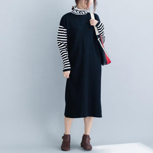 Aesthetic black Sweater dress outfit DIY baggy  knitted dress