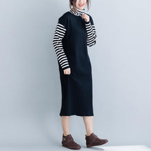 Load image into Gallery viewer, Aesthetic black Sweater dress outfit DIY baggy  knitted dress