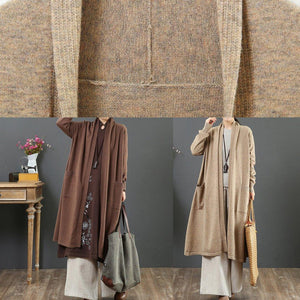 Aesthetic chocolate sweater coat fall fashion winter pockets knit outwear