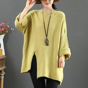 Aesthetic light green clothes For Women asymmetric hem oversize side open knit tops