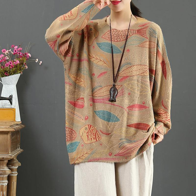 Aesthetic prints two box top wild oversize o neck knitted blouse