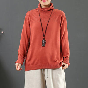 Aesthetic red khit top silhouette high neck plus size clothing hollow out sweaters